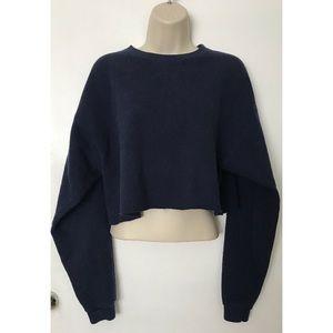 Navy Blue Cropped Crewneck Sweater